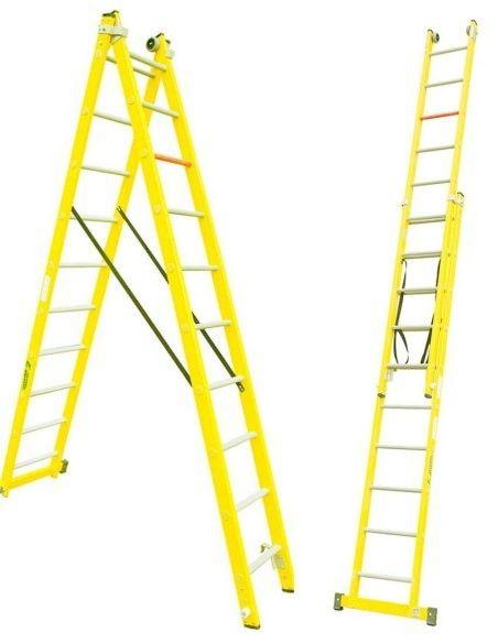 Escaleras Dos Tramos Travesaño Fibra
